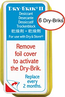 Dry & Store Dry-Brik II Desiccant Blocks - 6 Blocks (2 Packs of 3 Blocks)| Replacement Moisture Absorbing Block for The Global II and Zephyr