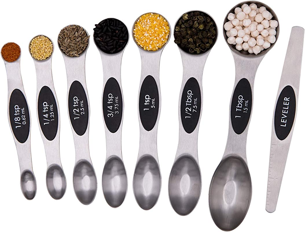 Magnetic Measuring Spoons Set Kitchen Measuring Spoon Stainless Steel Dual Sided Stackable Teaspoon For Dry And Liquid 8Pcs