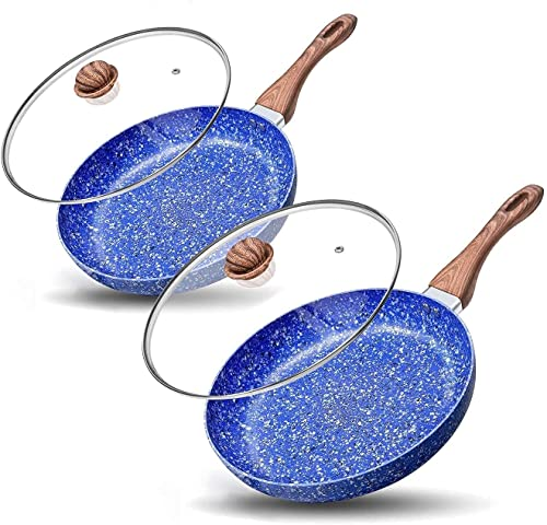 wholesale MICHELANGELO outlet online sale 8 Inch + 11 Inch Frying Pan with Lid, online sale Nonstick Stone Frying Pan with Non toxic Stone-Derived Coating, Granite Frying Pan, Nonstick Frying Pans with Lid, Stone Skillets online