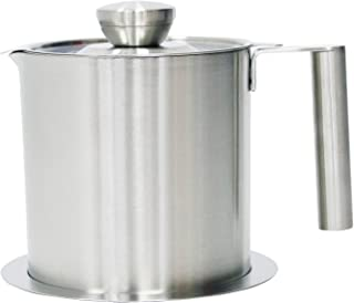 Bacon Grease Container With Strainer - Best For Cooking Oil and Drippings 1.3 Quart Stainless Steel Grease Keeper