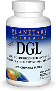 Planetary Herbals DGL Deglycyrrhizinated Licorice, Supports a Healthy Stomach Lining,200 Tablets