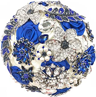Abbie Home Luxury Customized Sparkling Royal Blue Rhinestone Gem Covered Wedding Brooch Bouquet Bridal Pearls and Jewelry