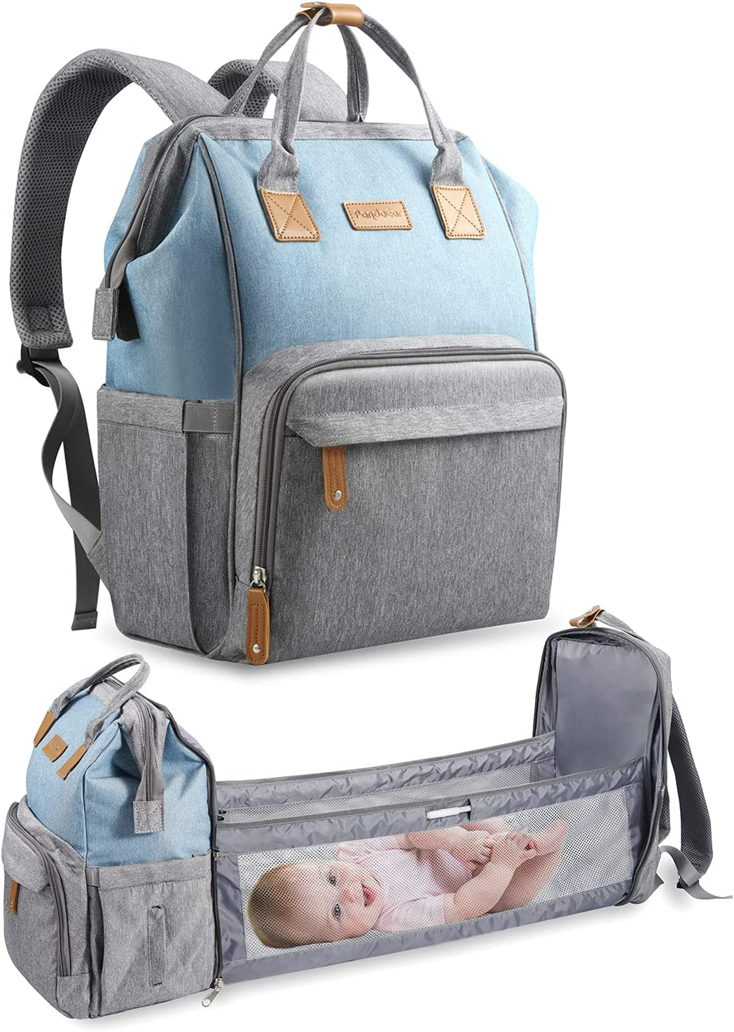 PandaEar Multi-Function Diaper Maternity Mommy Baby Travel Backpack Bag, Large Capacity (Blue)