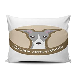 TBUFYU Decorative Pillowcases Lovely Italian Greyhound Queen 20x30 Inches Throw Pillow Cover Case Hidden Zipper One Sided Design Printed (Set of 1)