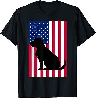 Black Lab T Shirt Labrador Retriver Patriotic USA Flag
