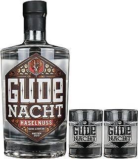 GUDE NACHT Haselnuss mit zwei Shot Gläsern - Geschenkpaket Haselnusslikör Likör aus Hessen 500ml | 29,0%vol.alc.