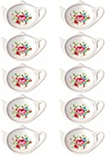 Set of White Porcelain Ceramic with Flower Trim Teapot-Shaped Tea Bag Holder Tea Bag Coasters, Spoon Rests; Classic Tea Time Saucer Seasoning Dish Set (TYGZ)