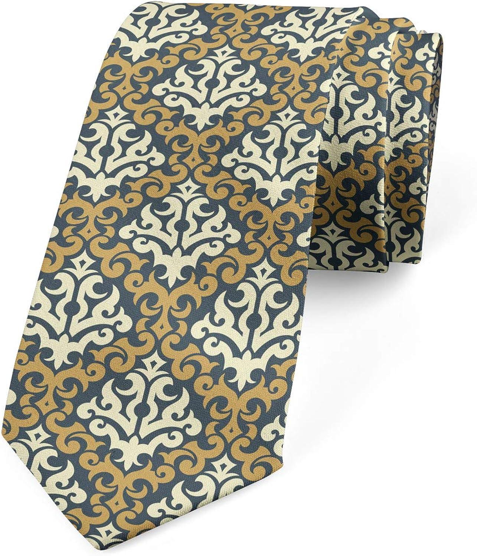 Ambesonne Men's Tie, Royal Foliage Motifs, Necktie, 3.7