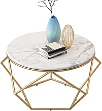 Round Side End Table Coffee Dining Table Living Room Furniture Bedroom Sofa Bedside Table for Small Spaces, White Marble T...