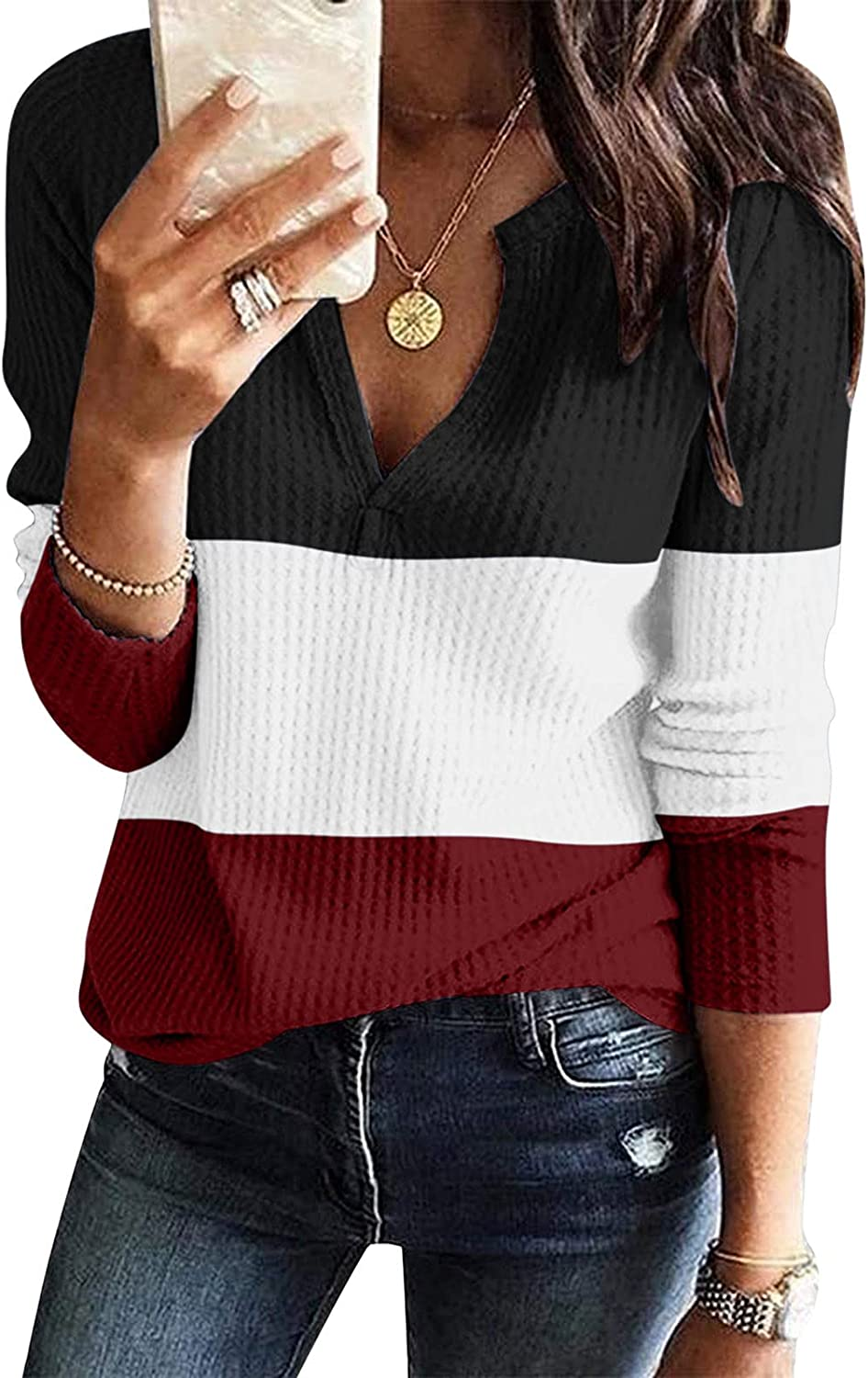 Womens Tops Long Sleeve Waffle Knitted Tunics with Zipper, Trendy Casual Pullover Sweatshirts Comfy Fall Shirts Blouse