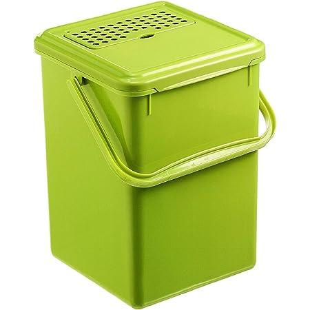 Rotho Bio Seau à compost de 9l avec filtre à charbon actif dans le couvercle, Plastique (PP) sans BPA, vert, 9l (23.0 x 22.5 x 27.5 cm)