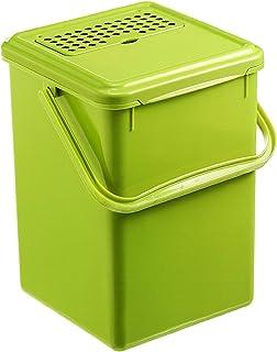 Rotho Bio Seau à Compost de 9L avec Filtre à Charbon Actif dans Le Couvercle, Plastique (PP) sans BPA, Vert, 9L (23,0 X 2...