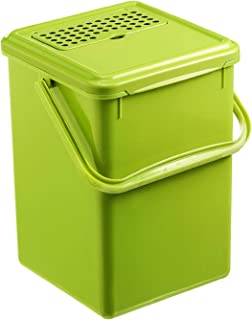 Rotho Bio Seau à compost de 9L avec Filtre à Charbon Actif dans le Couvercle, Plastique (PP) sans BPA, Vert, 9L (23,0 x 22...