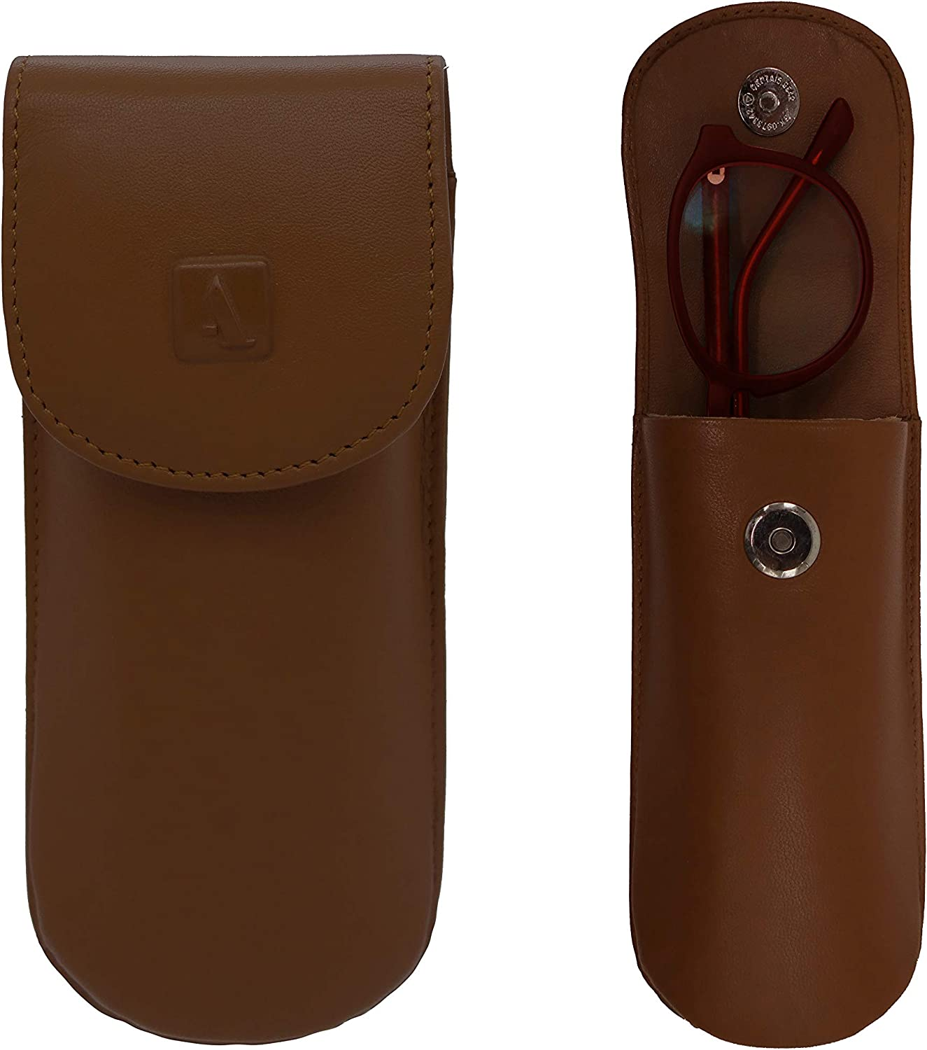 Adamis Full Grain Genuine Leather Spectacles Hard Shell Case for Men and Women