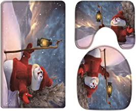 A.Monamour Christmas Holiday Night Snowy Mountain Cloudy Sky Cute Snowman with Lamp Soft Flannel Cloth Washable Bath Mat R...