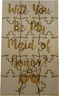 FashionJunkie4Life Will You Be My Maid of Honor - 15 Piece Basswood Jigsaw Puzzle - Wedding Bridal Party Bride Gift Propose