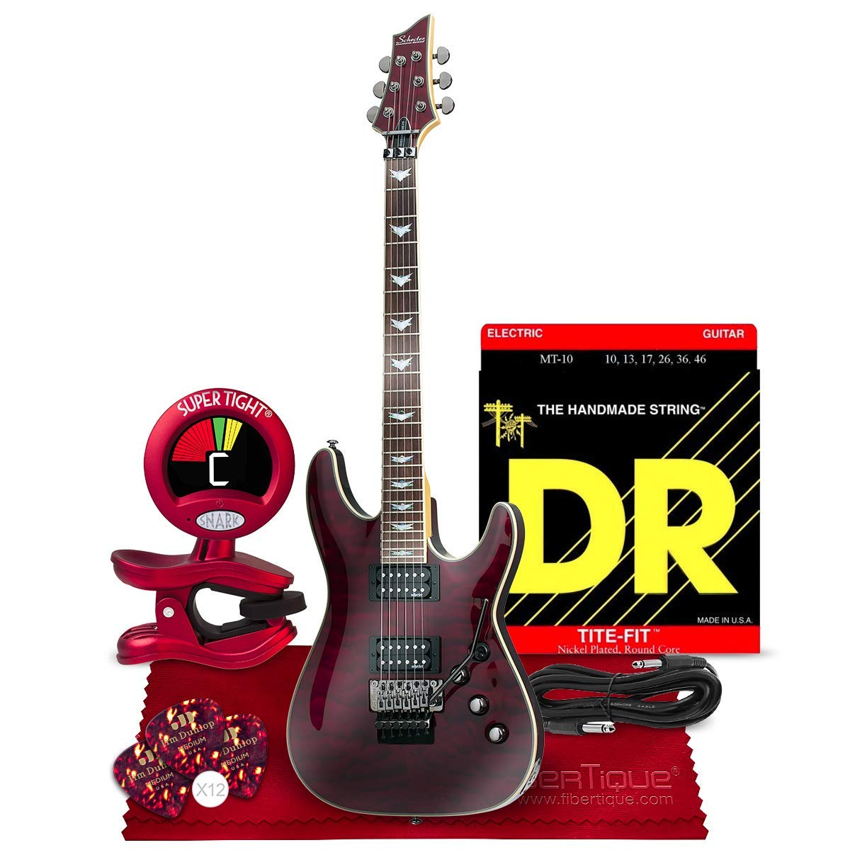 Cheap Schecter Omen Extreme-6 Electric Guitar Black Cherry Bundle with Guitar Tuner Strings Picks Cable and Cloth Black Friday & Cyber Monday 2019