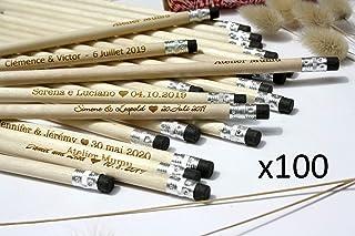 100 matite di legno con testo personalizzato, gruppo x100 matite, personalizzabile, per matrimonio, gomma nera, regalo per...