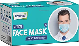 OptiTect - Medical Grade Face Mask Disposable 4 Layer Blues Masks 50 PCS, Protective Breathable Face Cover with Metal Nose...