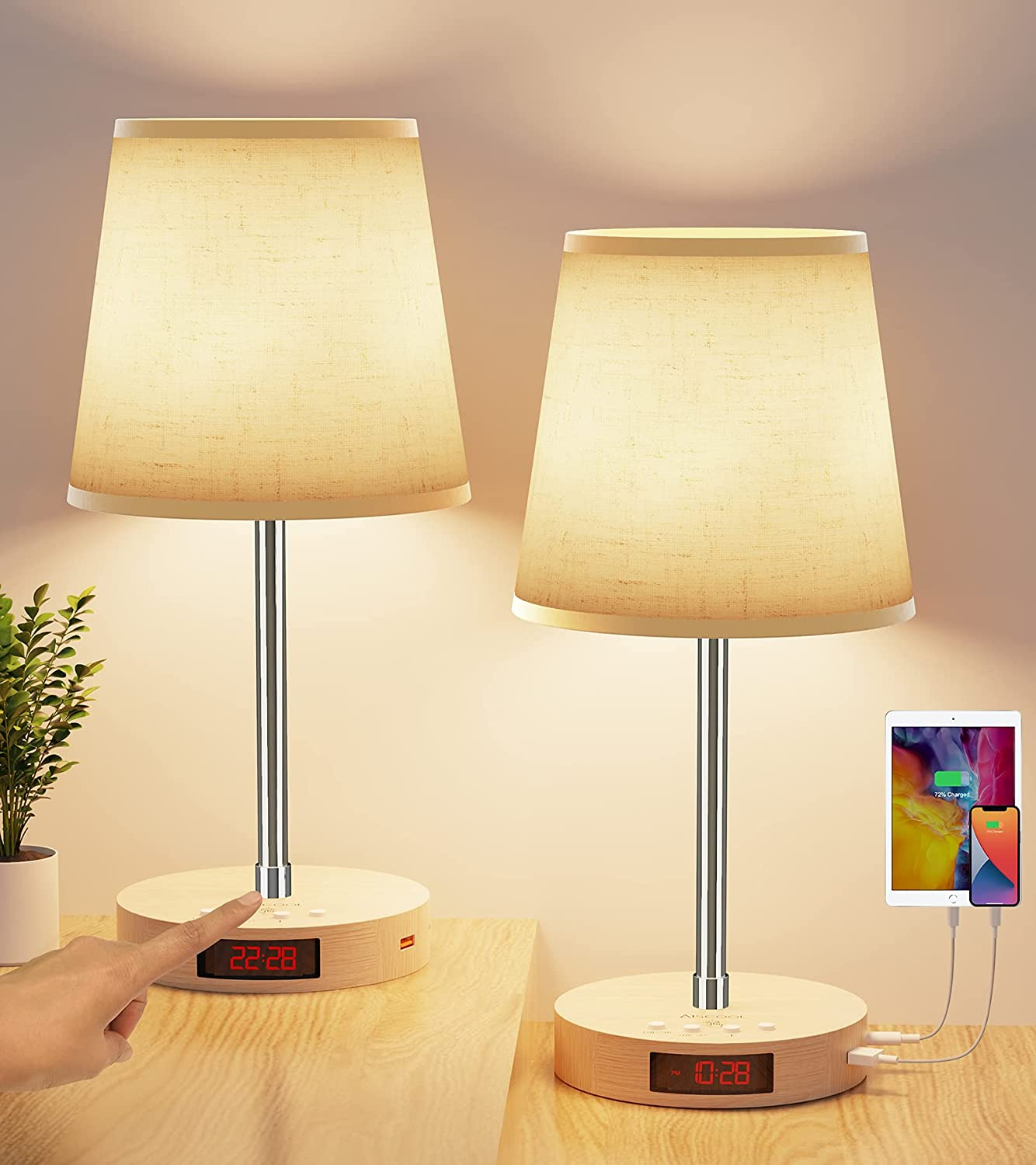 AISCOOL Spring new work one after another Bedside Table Lamp with USB San Jose Mall Stepless Type Dimma C Ports