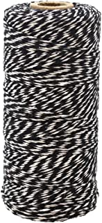 Just Artifacts ECO Bakers Twine 240yd 4Ply Striped Black - Decorative Bakers Twine for DIY Crafts and Gift Wrapping