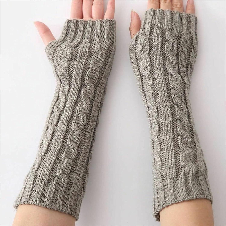 lkpoijuh Women Winter Knitted Wrist Arm Hand Warmer Long Mitten Fingerless Gloves Black White Gray (Color : Light Gray)