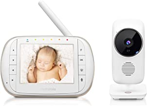"Motorola Smart Video Baby Monitor with Wi-Fi and 3.5"" Color LCD Parent Unit, Night Vision, Two-Way Audio, Room Temperature Display and 5 Lullabies, MBP668CONNECT"