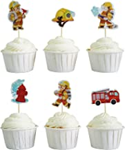 BeBeFun Cupcake Decorative Toppers The Firefighter Brave Fireman Firetruck Birthday Party Cupcake Decorating Tools for Party Supplies 24 Pieces in Pack. (Firefighter)