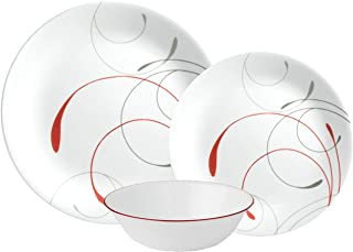 Corelle Vitrelle Splendor Dinnerware Set 18 Pieces - White Red