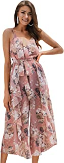 Miessial Women's Floral Spaghetti Strap Chiffon Jumpsuit Backless Wide Leg Pants Summer Rompers