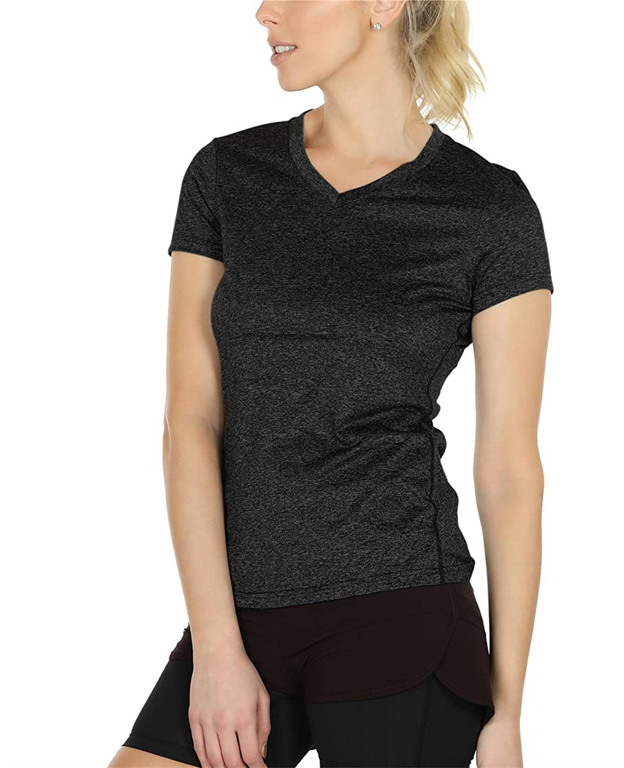 icyzone Workout Shirts Yoga Tops Activewear V-Neck T-Shirts for Women Running Fitness Sports Short Sleeve Tees ukfxlecc3