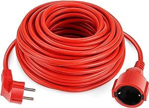SIMBR Alargador Electrico 20m Cable Alargador Corriente IP20 H05VV Alargador Corriente para Exteriores Prolongador Electrico de Color Rojo