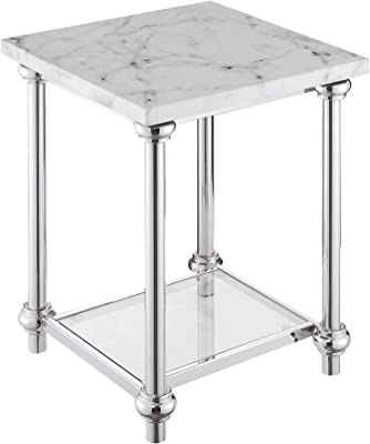 Convenience Concepts Roman II End Table, Faux White Marble / Chrome