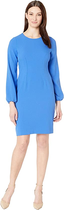 Long Sleeve Textured Crepe Dart Body Dress
