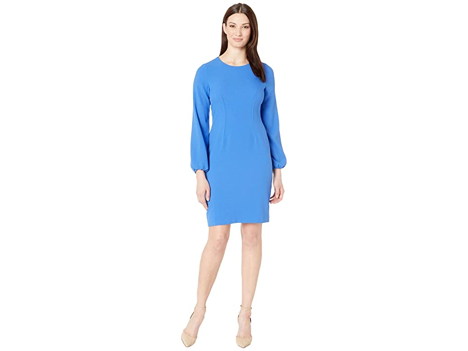 Nine West Long Sleeve Textured Crepe Dart Body Dress (Cornflower) Women