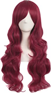 MapofBeauty 28 Inch/70cm Charming Women Side Bangs Long Curly Full Hair Synthetic Wig (Blood Red)