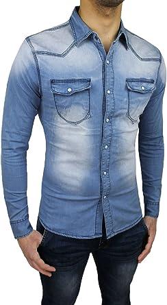 Camisa vaquera de hombre, casual, ajustada, de algodón, denim ...