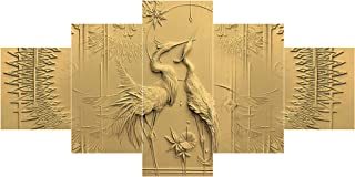 Saumic Craft Set Of 5 Modern Art Bird Nature Scenery 3d Framed Wall Painting For Home Decoration , Living Room , Office , ...