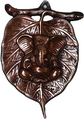 eCraftIndia Lord Ganesha on Leaf Wall Hanging (13.75 cm x 1.25 cm x 21.25 cm, Brown)