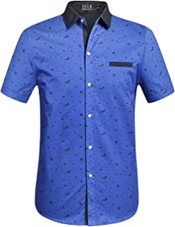 Men's Printed Button Down Casual Short Sleeve Cotton Shirts