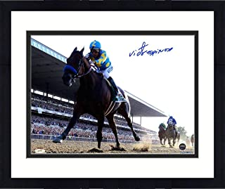 Framed Victor Espinoza Signed American Pharoah Leads The Pack 2015 Belmont Stakes 8x10 Photo - Steiner Sports Certified