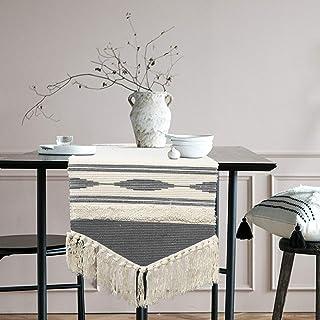 KIMODE Moroccan Fringe Table Runner, Bohemian Geometric Cotton Handmade Woven Tufted Tassels Farmhouse Dinning Table Linen...