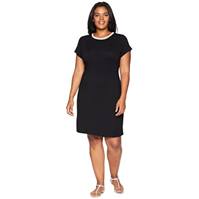 MICHAEL Michael Kors Plus Size Cap Sleeve Seam Mini Dress (Black) Women
