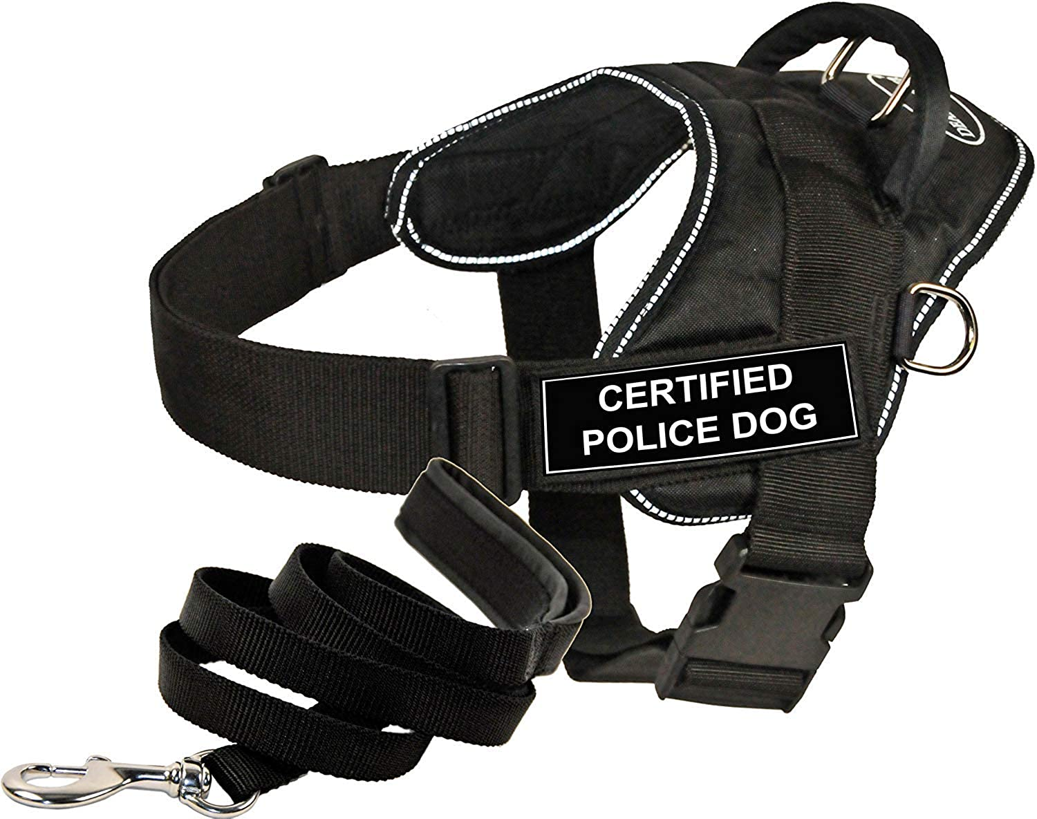 Dean and Tyler Bundle  One DT Fun Works  Harness, Certified Police Dog, Reflective, Small + One Padded Puppy  Leash, 6 FT Stainless Snap  Black