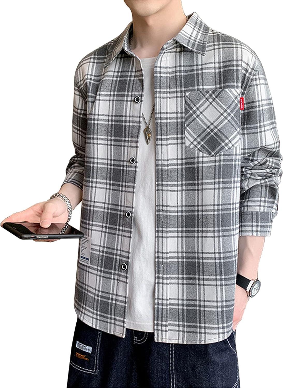 Men's Long-Sleeved Shirt Classic Lattice Shirt with Pockets Henley Shirts Button Down