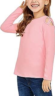 Lookbook Store Girls Long Sleeve Shirt Crisscross Cold Shoulder Tee Tops T-Shirt