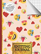 Knitting Journal: Emoji Party Knitting Journal to Write in, Half Lined Paper, Half Graph Paper (4:5 Ratio)