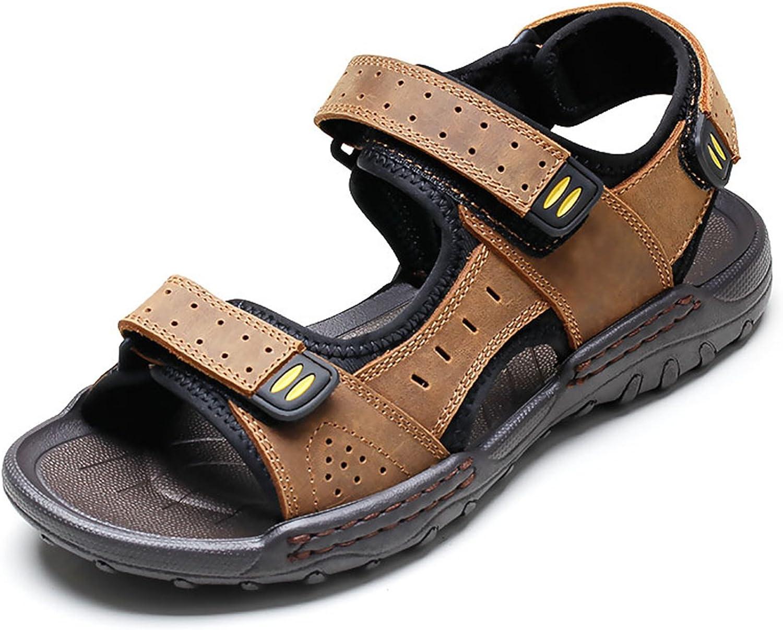 LXIE Pakamo Men's Sandals Summer Genuine Leather Sandals Men Outdoor Non Slip Fisherman Beach Slippers Men's shoes, EU 38