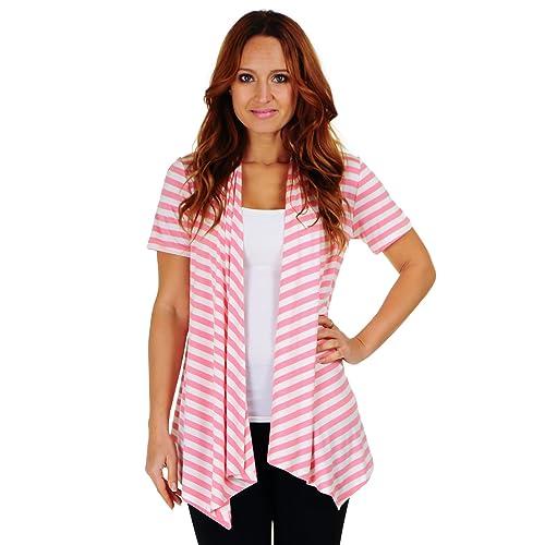 c01cfa63dd Simply Ravishing SR Women's Basic Short Sleeve Stripe Open Cardigan (Size:  Small-5X