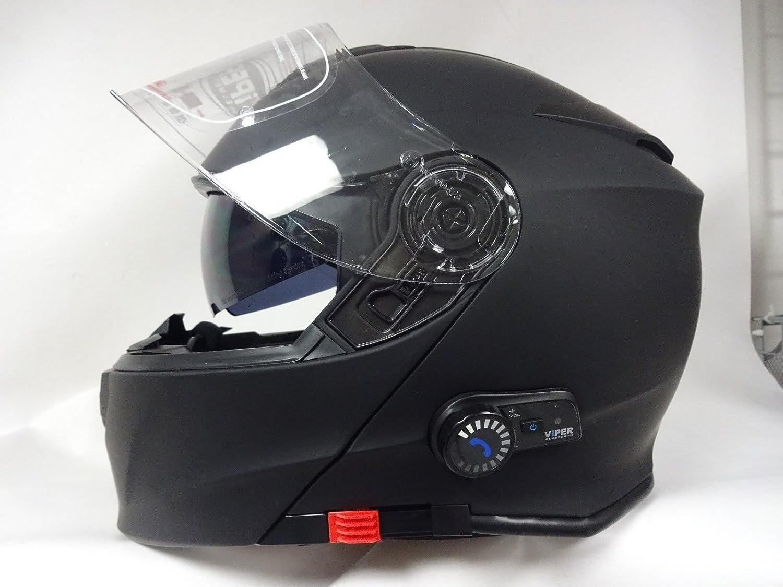 V171 Motorradhelm Viper Bluetoothhelm Motorrad Sturzhelm Klapphelm Touren Helm Mit Sonnenblende Matt Schwarz Motorrad